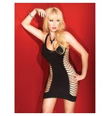 Coquette International Lingerie Coquette Fishnet Back Black Dress with Solid Front Panel (One Size)