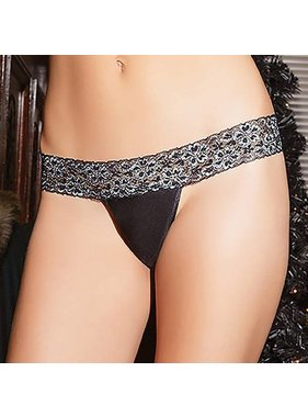 Coquette International Lingerie Coquette Scalloped Lace Banded Thong (One Size)