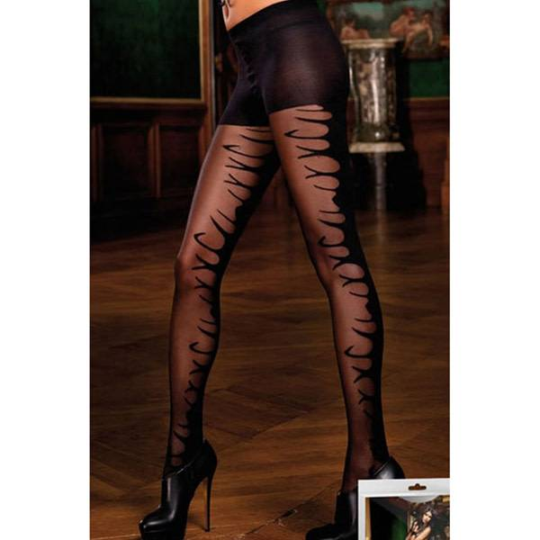 Baci Lingerie Rock and Roll Black Pantyhose (One Size)