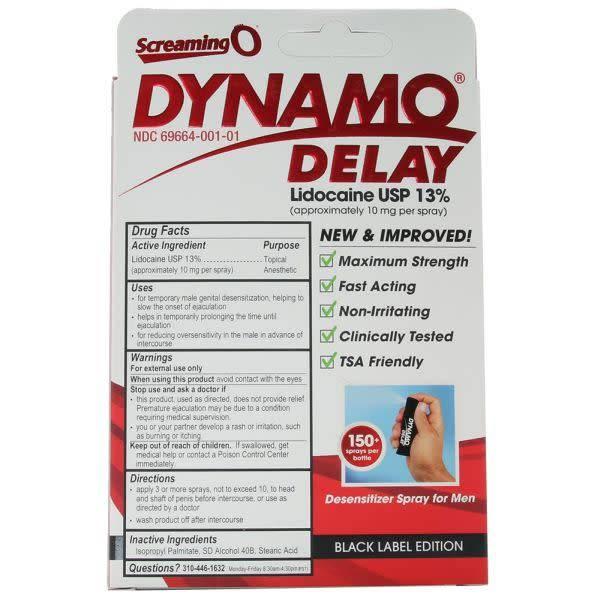 Screaming O Dynamo Delay Spray Black Series 0.5 oz (15 ml) (Lidocaine 13%)