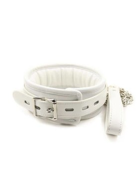 Premium Products White PU Leather Lockable Collar