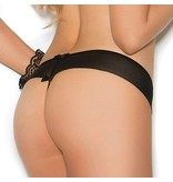 Elegant Moments Lingerie Let it Bow Black Crotchless Panty