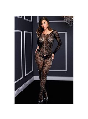 Baci Lingerie Swirling Black Lace Bodystocking