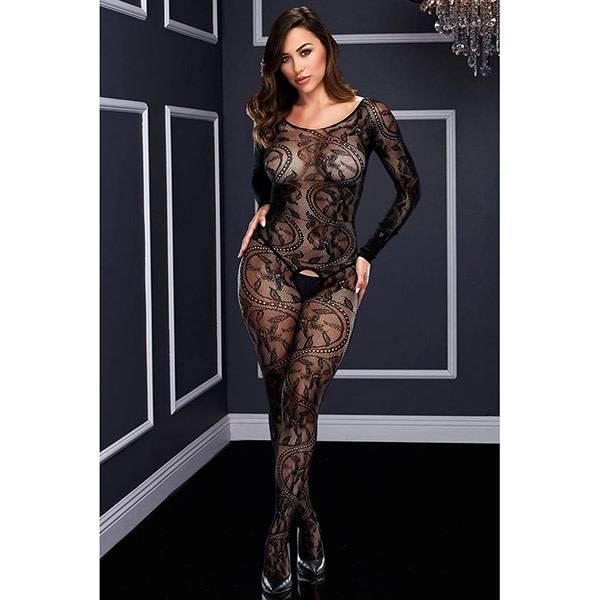Baci Lingerie Swirling Black Lace Bodystocking (One Size)