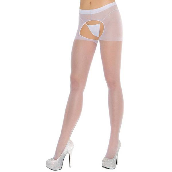 Elegant Moments Lingerie Sheer White Crotchless Pantyhose