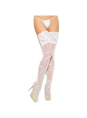 Elegant Moments Lingerie Elegant Moments Floral Print White Sheer Thigh Highs (One Size)
