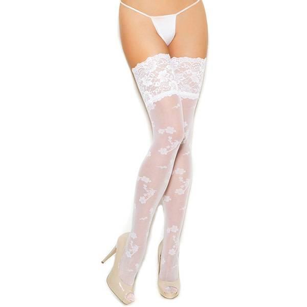 Elegant Moments Lingerie Elegant Moments Floral Print White Sheer Thigh Highs (One Size)