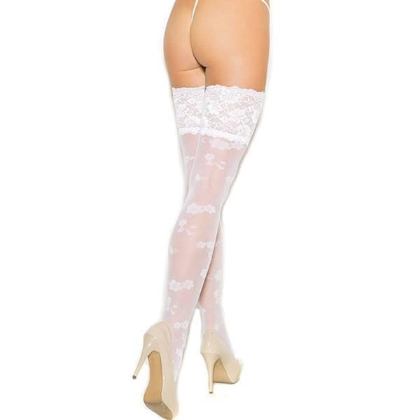 Elegant Moments Lingerie Floral Print White Sheer Thigh Highs