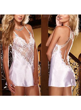 Premium Products White Lace Front Chemise with Low Back