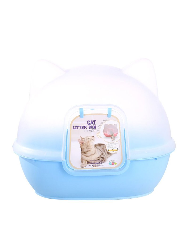 Dog & cat (W) AT Kitty Kan Litter Dome - Blue