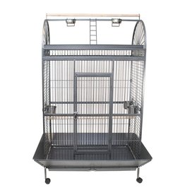 "Bird (W) Animal Treasures<br /> Parrot Cage & Stand - Black/Silver - 48"" x 32"" x 70"""