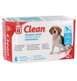 Dog & cat (W) Dogit Diapers - Medium - 15-35 lbs and waist 16.5-21 in - 12 pack