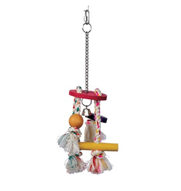 Bird (W) Living World Junglewood Bird Toy, Rope Chime with Round Top, Bell Bead, Block, Cylinder and Peg with Hanging Clip