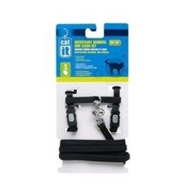 Dog & cat (W) CA Aj. Harness and Leash Set, Black, M-V