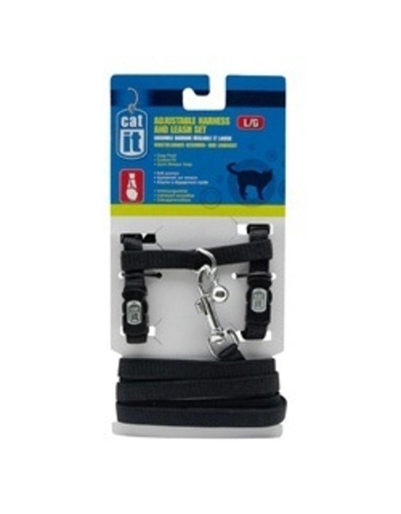 Dog & cat CA Aj. Harness and Leash Set, Black, L-V