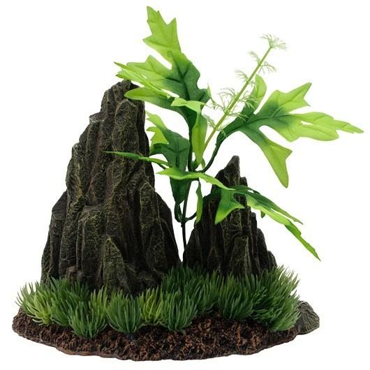 Aquaria (D) Marina Double Rock Crop with Plants, Large