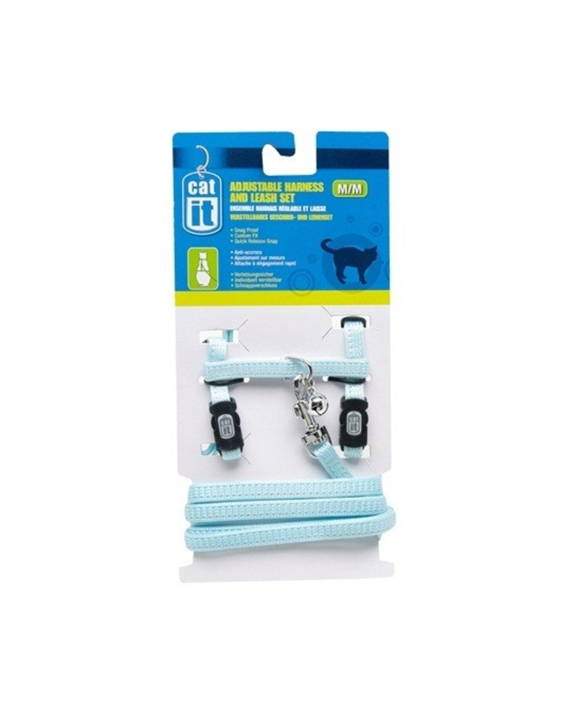Dog & cat CA Aj. Harness and Leash Set, Blue, S-V
