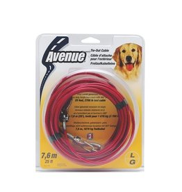 Dog & cat (W) Avenue 25 Lrg Tie Out Cable Red-V