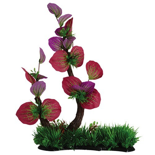 """Aquaria (D) Branch with Pink Leaves and Grass - 18"""""""