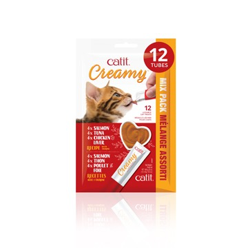 Dog & cat Catit Creamy Lickable Cat Treat - Assorted Multipack - 12 pack
