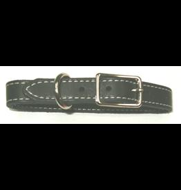 "Dog & cat (D) SINGLE LEATHER STITCHED COLLAR (1"" X 22"") BLACK"