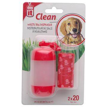Dog & cat Dogit Bag Dispenser - 2 Rolls/20 Bags - 29.5 x 23 cm (11.6 x 9 in) - Red