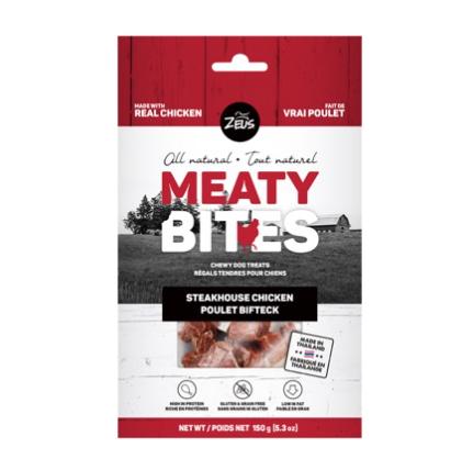 Dog & cat Zeus Meaty Bites, Steakhouse Chicken, 150 g