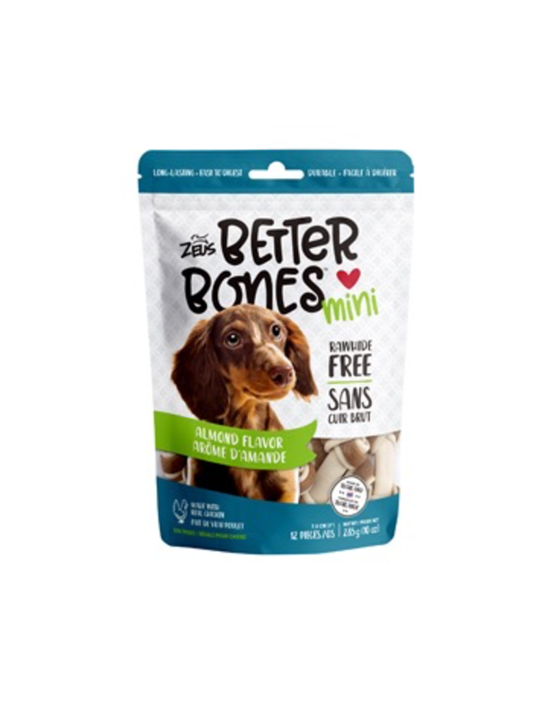 Dog & cat Zeus Better Bones - Almond Flavor - Mini Bones - 12 pack