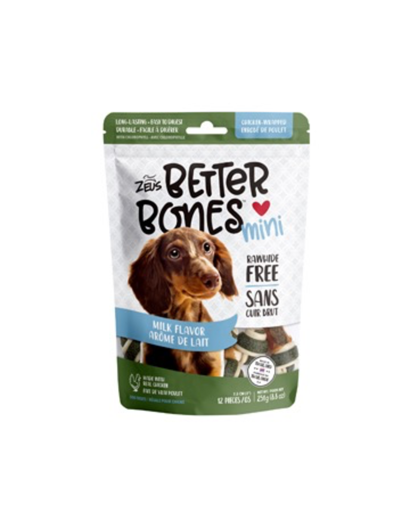 Dog & cat Zeus Better Bones - Milk Flavor - Chicken-Wrapped Mini Bones - 12 pack