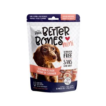 Dog & cat Zeus Better Bones - Salmon Flavor - Chicken-Wrapped Mini Bones - 12 pack