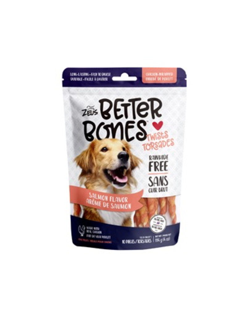 Dog & cat Zeus Better Bones - Salmon Flavor - Chicken-Wrapped Twists - 10 pack