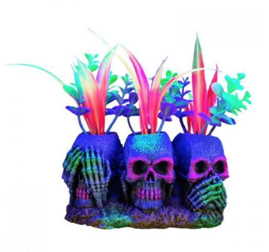 "Aquaria Marina iGlo 3 Skulls with Plants, 3"""