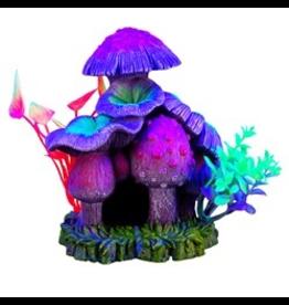 "Aquaria Marina iGlo Mushroom House with Plants, 6"""