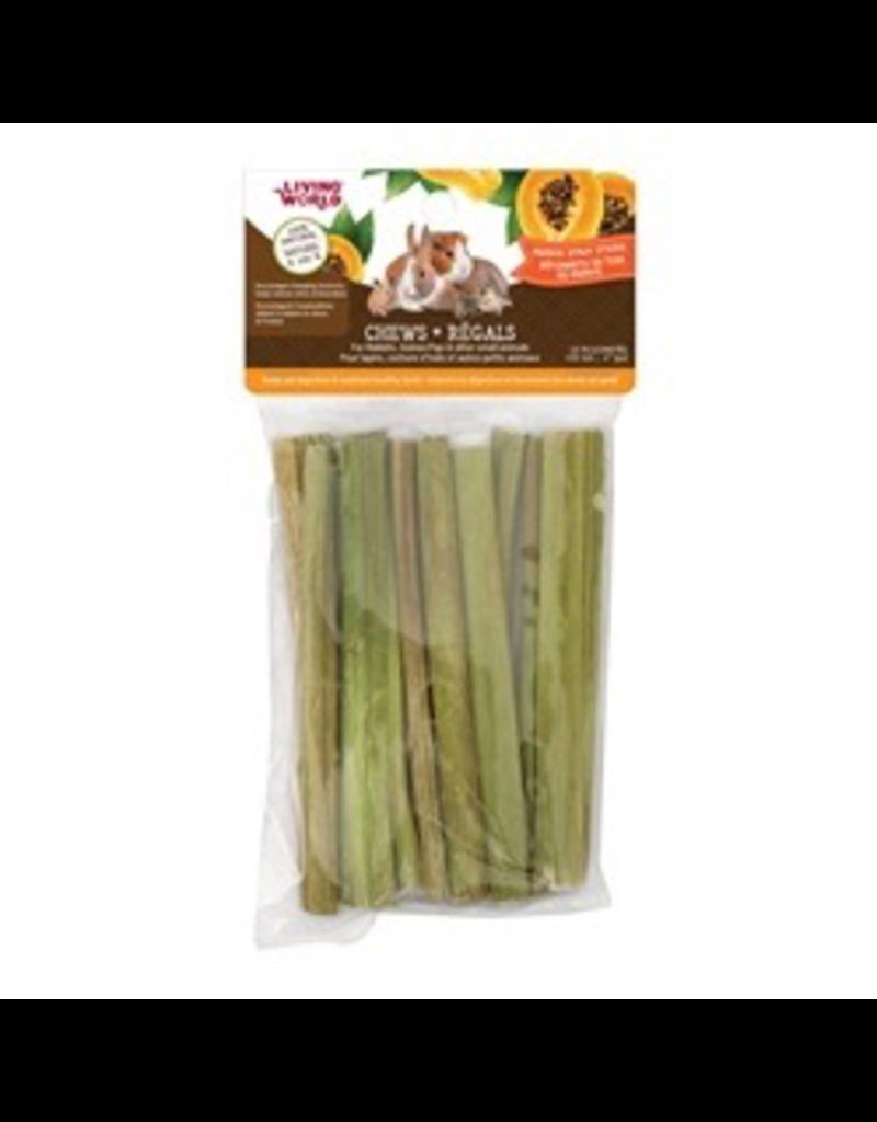 "Small Animal Living World Small Animal Chews, Papaya Stalk Sticks, 10 pcs, 4"""
