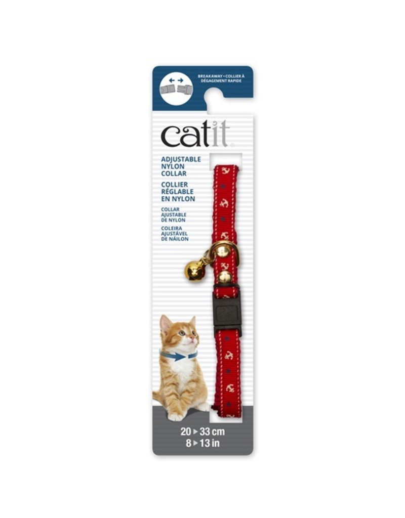 Dog & cat Catit Adjustable Breakaway Nylon Collar with Rivets - Red Nautical - 20-33 cm (8-13 in)