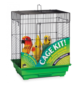 "Bird Square Roof Bird Cage Kit - Black/Green - 18"" x 14"" x 22"""