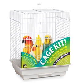 "Bird Square Roof Bird Cage Kit - White - 18"" x 14"" x 22"""