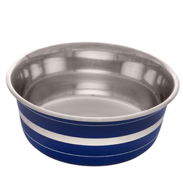 Dog & cat (W) Dogit Stainless Steel Deluxe Non-Skid Bowl, Blue Stripe, 1150 ml