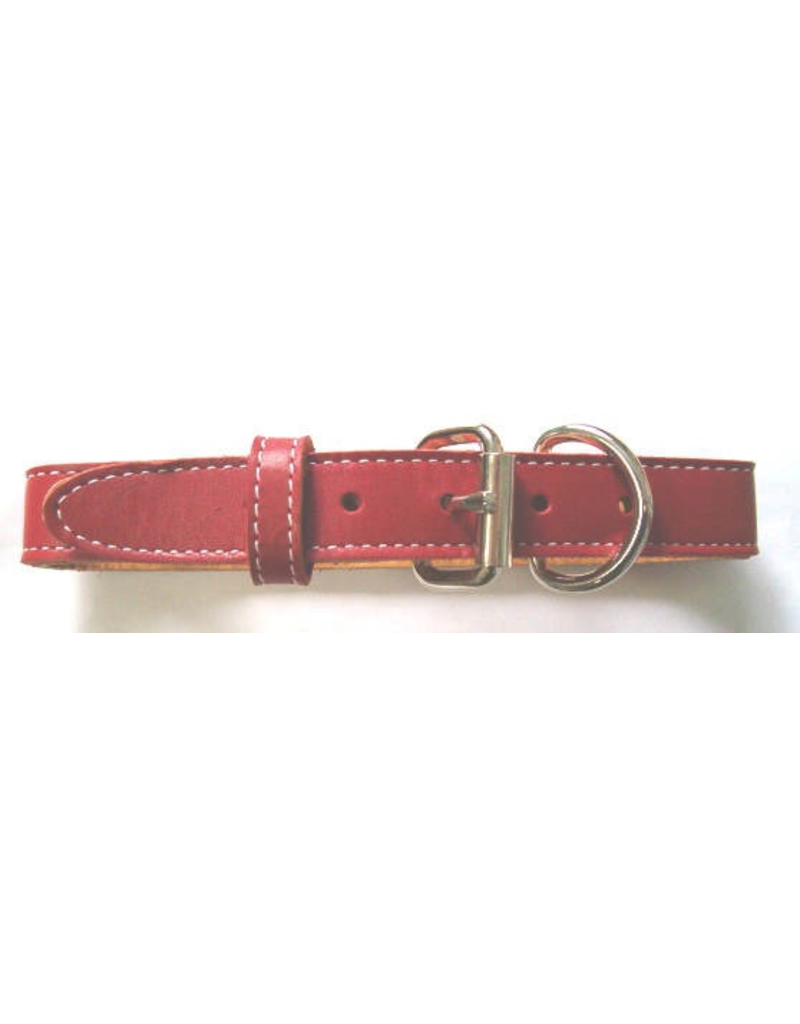 "Dog & cat (D) DOUBLE LEATHER STITCHED COLLAR (1 1/4"" X 24"") RED"