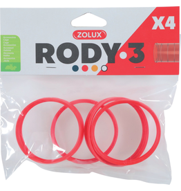 Small Animal (P) Zolux Rody3 Connector Ring 4pk, Grenadine