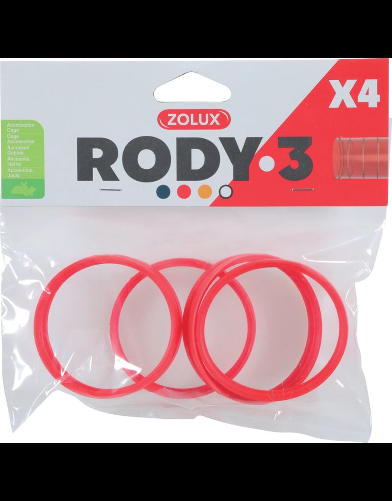 Small Animal (P) Zolux Rody3 Connector Ring 4pk, Grenadine