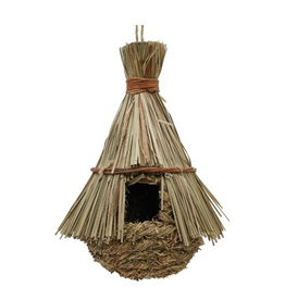 Bird Living World Outdoor Bird Nest - Reed with Orchard Grass - Hut - 21.5 cm x 21.5 cm x 31 cm (8.5'' x 8.5'' x 12.2in in)