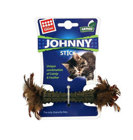Dog & cat Johnny Stick - Catnip - Double Side Natural Feather - Beige
