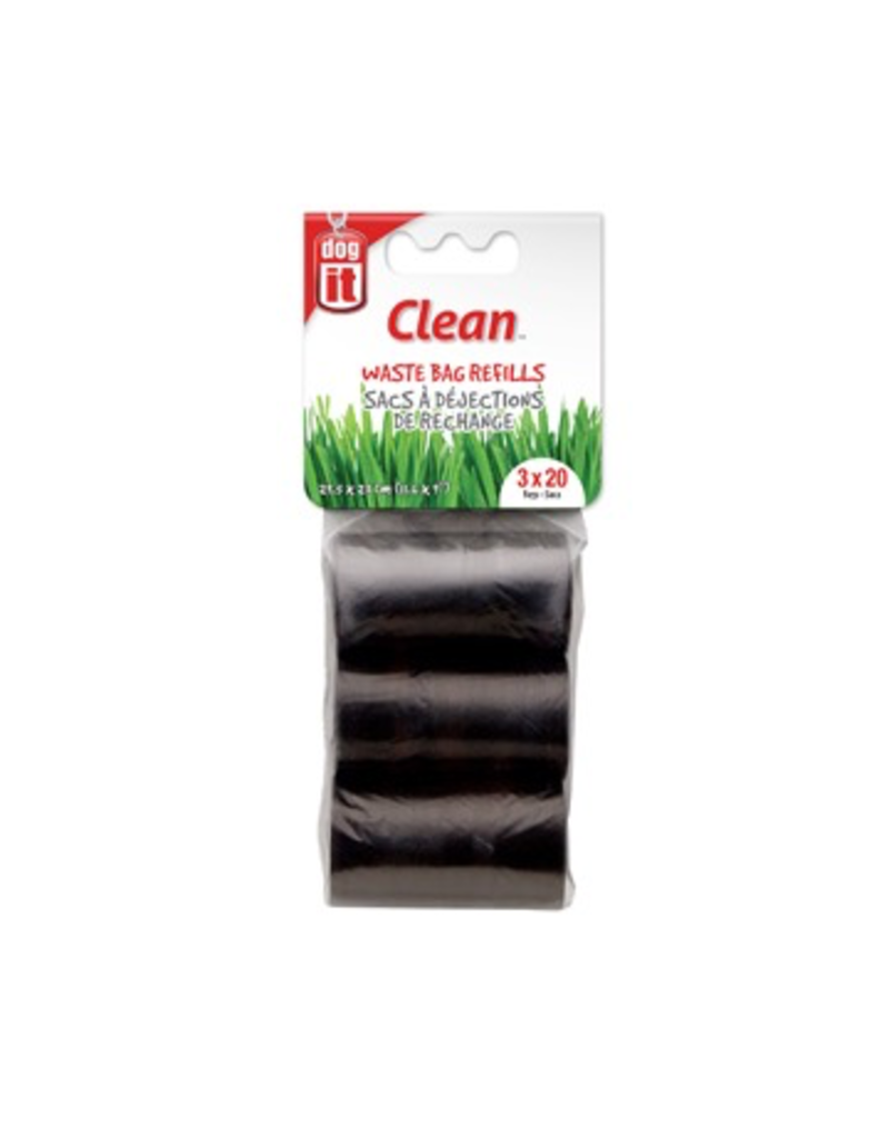 Dog & cat Dogit Waste Bags - 3 Rolls/20 Bags - Black - 29.5 x 23 cm (11.6 x 9 in)