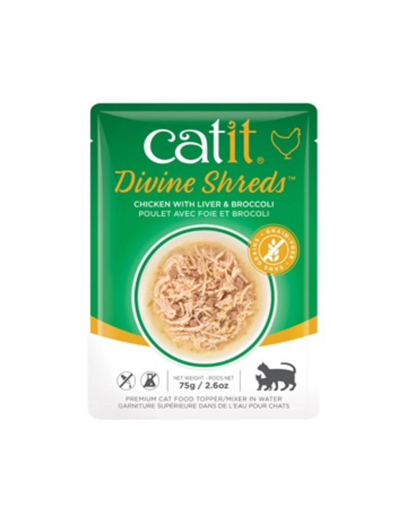 Dog & cat Catit Divine Shreds - Chicken with Liver & Broccoli - 75g Pouch