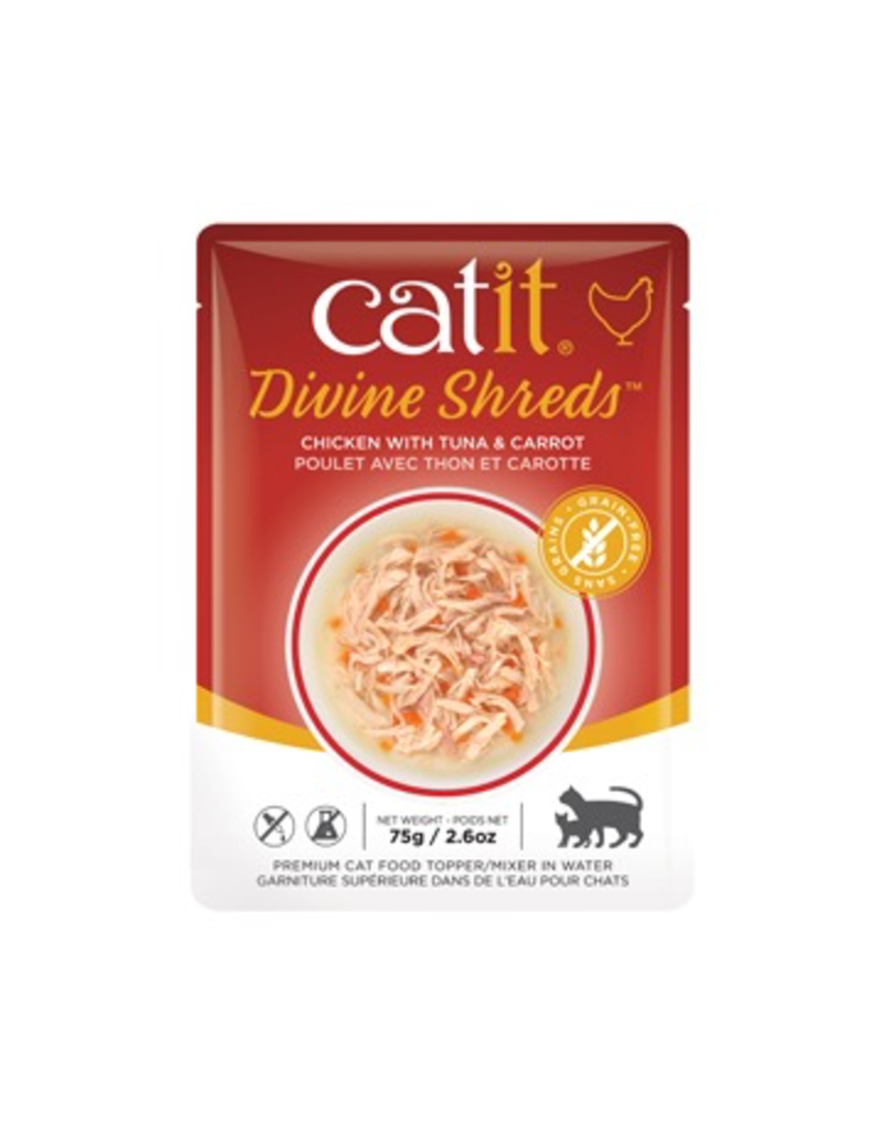 Dog & cat Catit Divine Shreds - Chicken with Tuna & Carrot - 75g Pouch