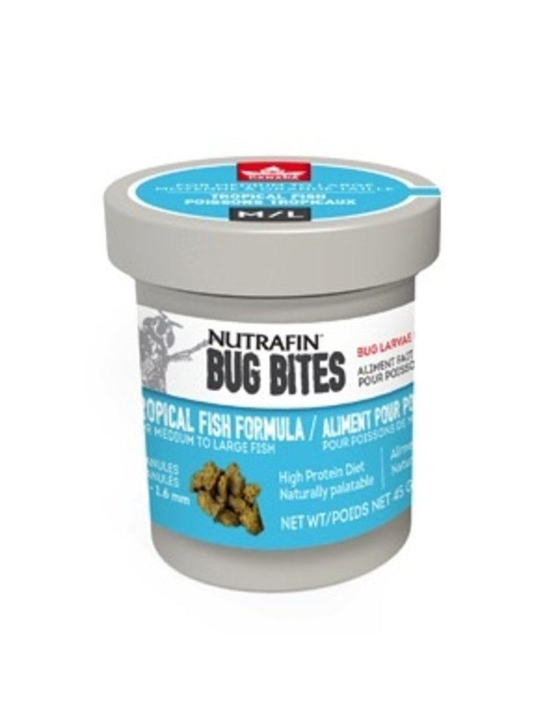 Aquaria Nutrafin Bug Bites Tropical Medium-Large 1.4-1.6mm granules for Angels/Large Gouramis