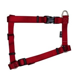"Dog & cat Zeus Nylon Dog Harness - Deep Red - Large - 2 cm x 45-70 cm (3/4"" x 18""-27"")"