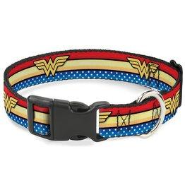 Dog & cat (D) Wonder Woman Logo Collar - Large