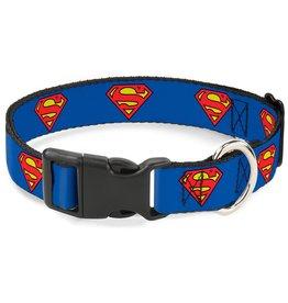 Dog & cat (W) Superman Shield Collar - Medium